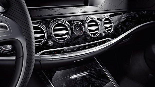 Mercedes S-CLASS S63 AMG czarne wykończenie z drewna topoli