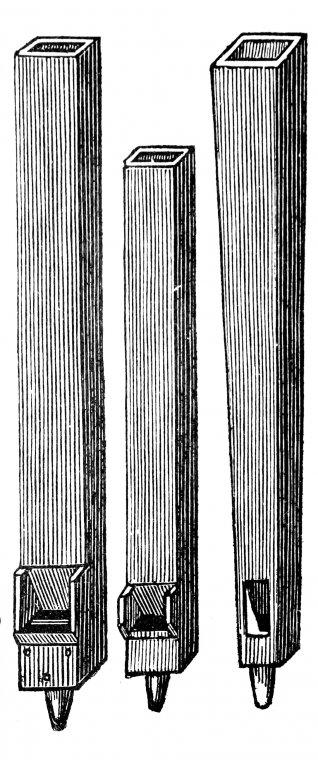 Różne formy piszczałek drewnianych - rycina pochodząca z wydanego w 1880r. Przewodnika dla organistów Antoniego Sapalskiego