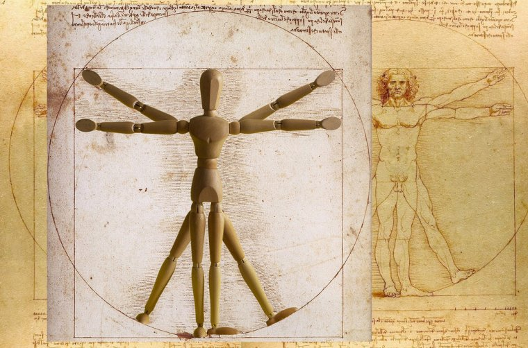 Człowiek witruwiański - Zdaniem Witruwiusza punktem odniesienia w projektowaniu budowli powinny być proporcje ludzkiego ciała