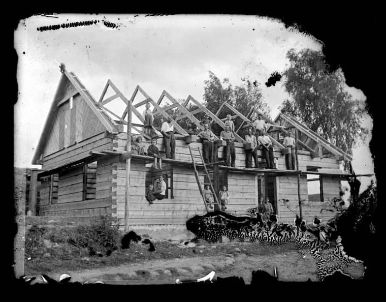 Budowa domu na Podlasiu, ok. 1945