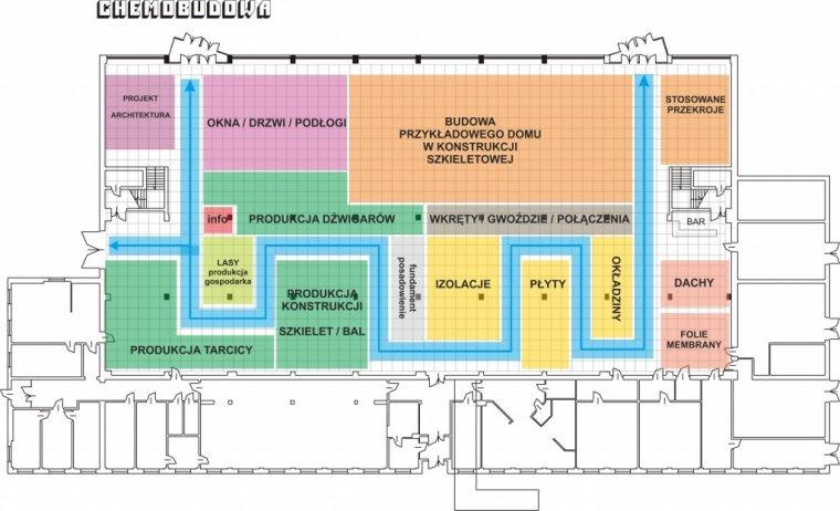 Wstępny plan układu hali targowej