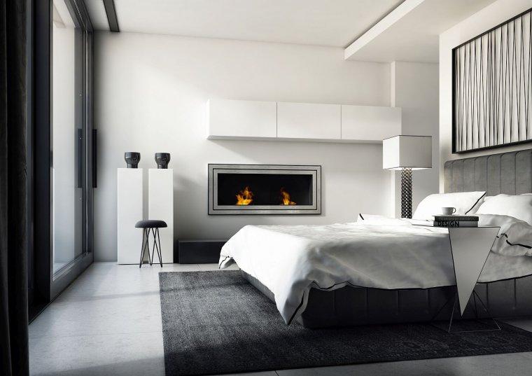 Biokominek w sypialni