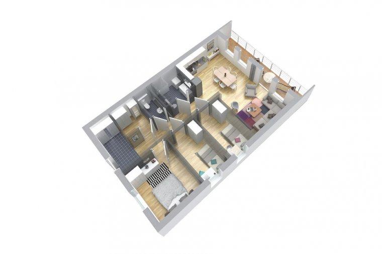 Przykład aranżacji mieszkania w technologii modułowej