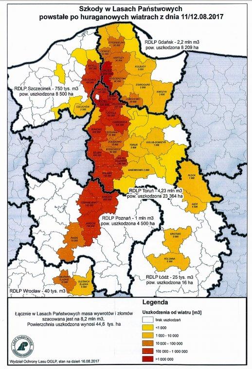Mapa nadleśnictw objętych klęską