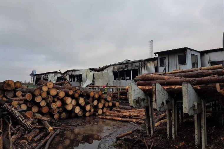 Pożar w tartaku w Klisznie