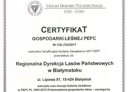 O certyfikacie PEFC RDLP Białystok - Komentarz