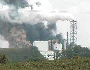 Pożar w Kronospanie - Fot. Temat