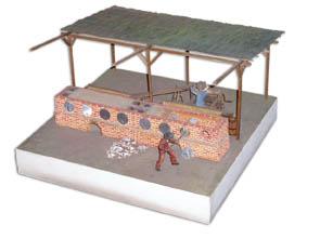 Piec dziegdziarski. Model w skali 1:20 ze zbiorów Muzeum Leśnictwa w Gołuchowie. Wykonanie - J. Witkowski