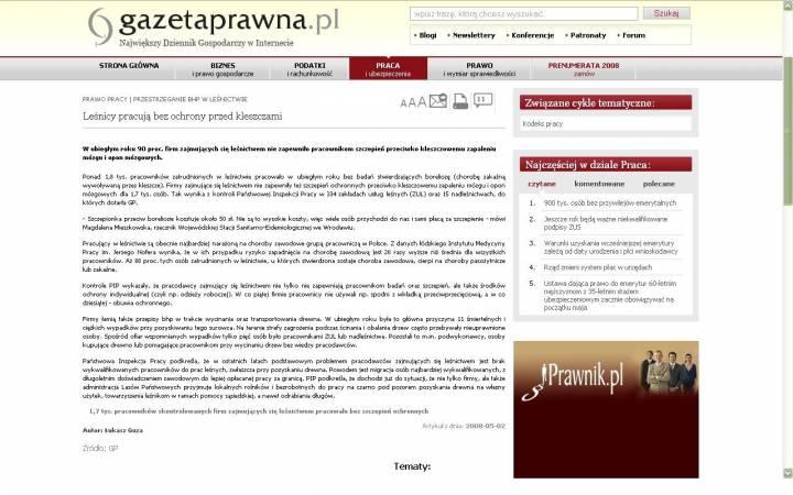 Internetowe wydanie Gazety Prawnej z artykułem