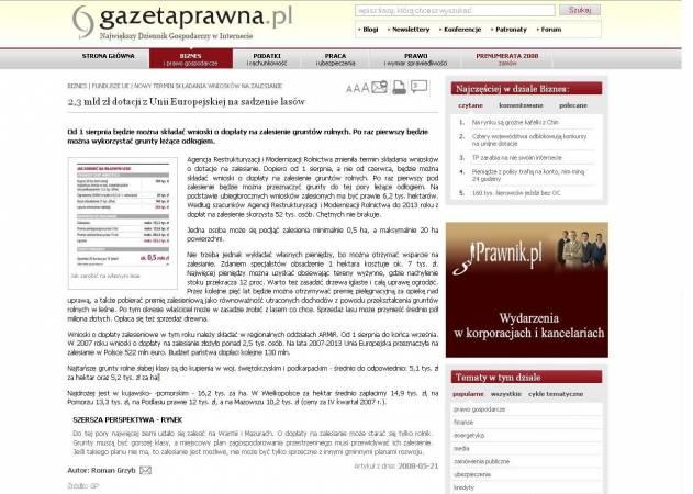 Wydanie internetowe Gazety Prawnej z cytowanym artykułem