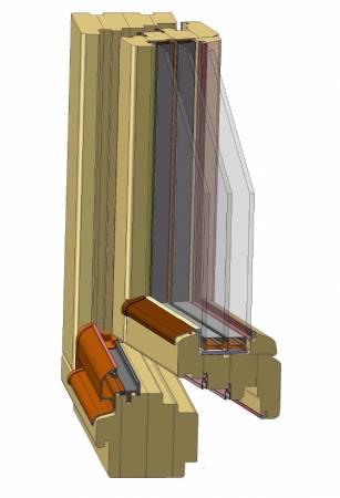 Przekój okna drewnianego ELITE 92