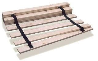 Najprostszy stelaż wykonany z oddzielnych listew sosnowych lub świerkowych, połączonych dwiema taśmami parcianymi zabezpieczonymi przed rozsuwaniem. Mogą być stosowane w łóżkach z bocznymi listwami nośnymi. Produkowane są od 80 do 140 cm szero