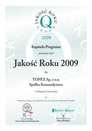 Srebrna Jakość Roku w kategorii Innowacja dla Topexu