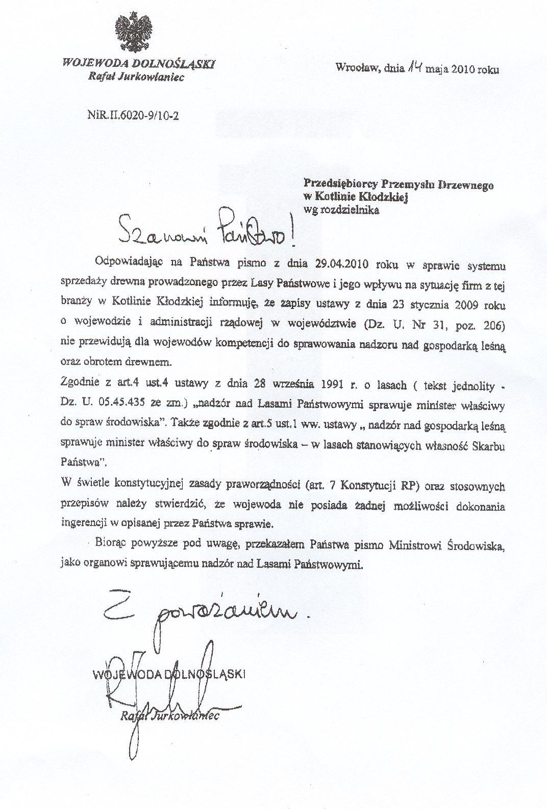 Odpowiedź Wojewody Dolnośląskiego skierowana do tartaków z Kotliny Kłodzkiej