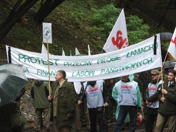 Leśnicy protestujący przeciw włączeniu PGL LP do sfery budżetowej nie mają poparcia przemysłu drzewnego.