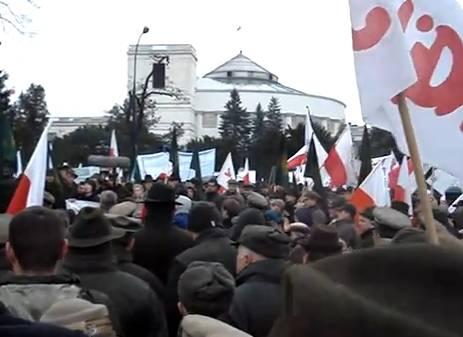 Manifestacja leśników przed Sejmem 24. listopad 2010