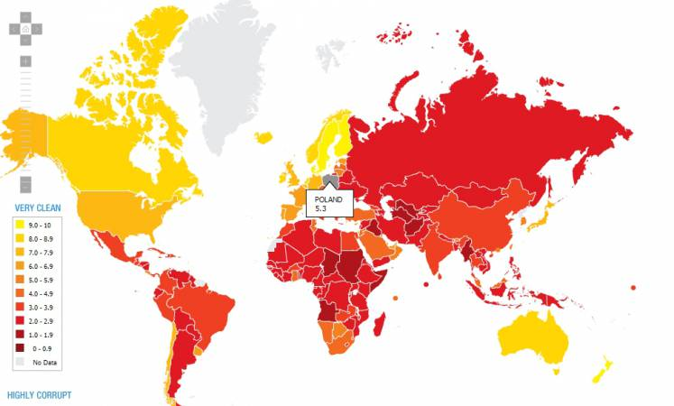 Światowa Mapa Wskaźnika Postrzegania Korupcji na rok 2010