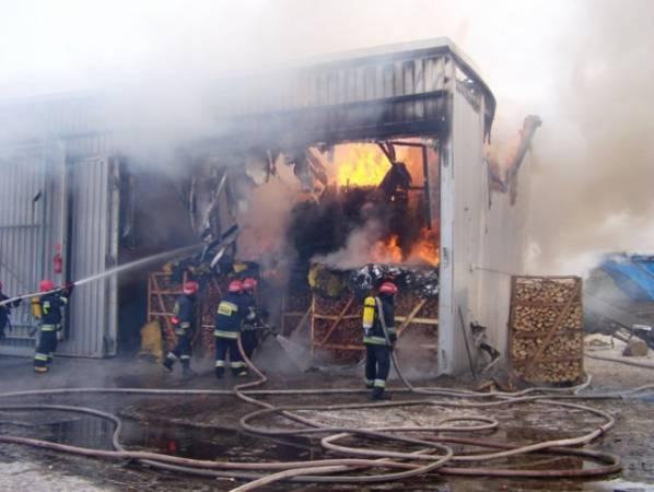 Pożar suszarni  w Biedkowie