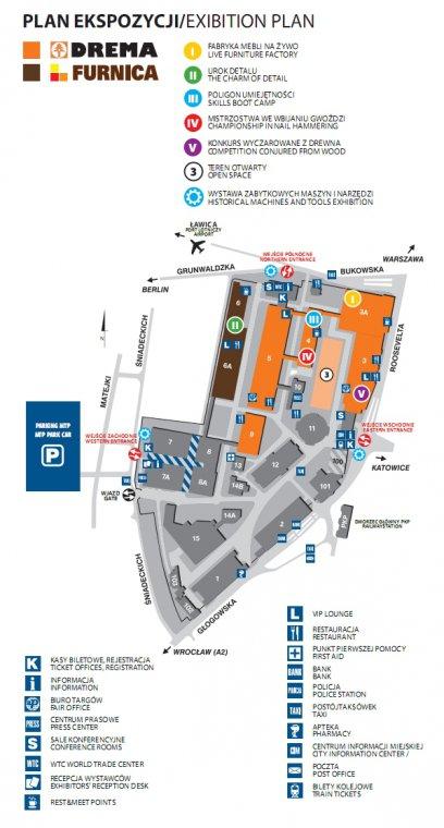 Plan ekspozycji targów Drema i Furnica 2011