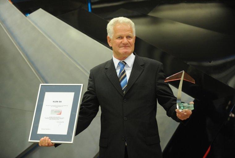 Prezes Klon SA Krzysztof Łopuszański podczas uroczystości debiutu na NewConnect