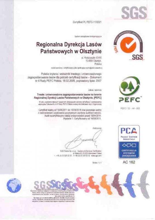 Certyfikat PEFC dla RDLP Olsztyn