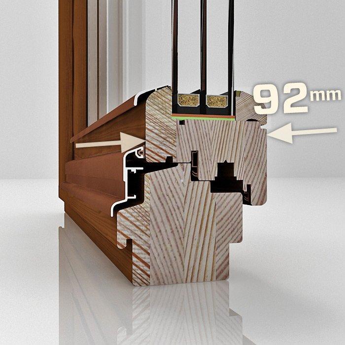 Konstrukcja drewnianego okna DDF-92