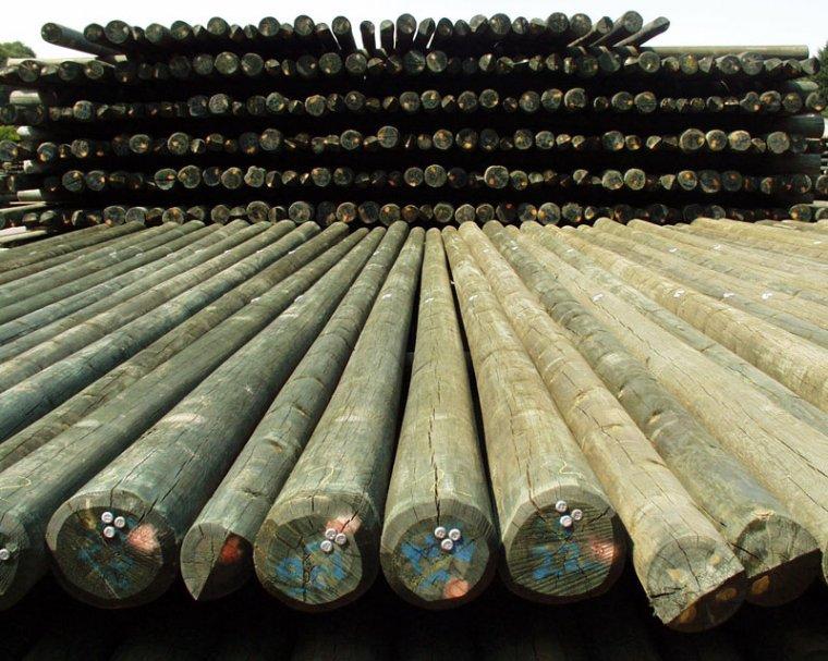 Drewniane maszty telekomunikacyjne impregnowane chromowym środkiem Korasit CK