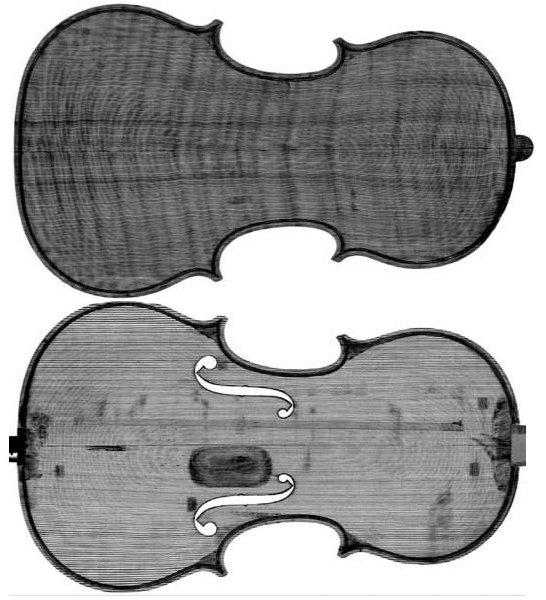 Obraz z tomografu i rzeczywisty widok skrzypiec Stradivariusa