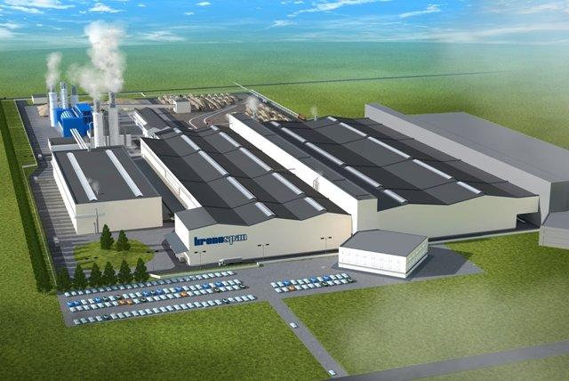 Wizualizacja zakładu produkcyjnego płyt drewnopochodnych w Smorgoni