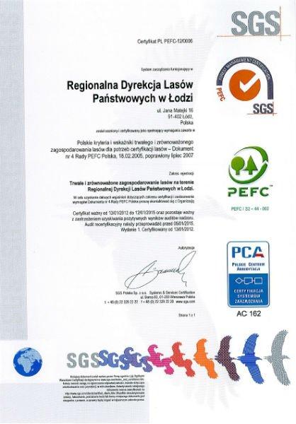 Certyfikat PEFC łódzkiej dyrekcji
