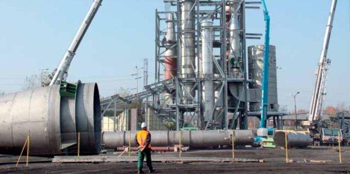 Budynek suszarni biomasy powstający w Stalowej Woli