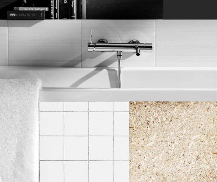 Niski współczynnik spęcznienia pozwala na zastosowanie płyt MFP w warunkach podwyższonej wilgotności np. w zabudowie łazienki