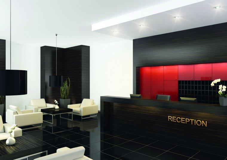 Hotelowe lobby, realizacja w dekorze Makassar