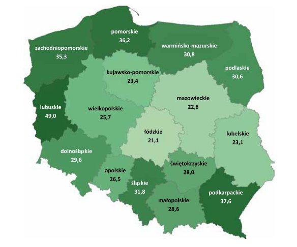 Lesistość Polski wg województw
