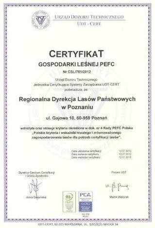 Certyfikat PEFC dla RDLP w Poznaniu
