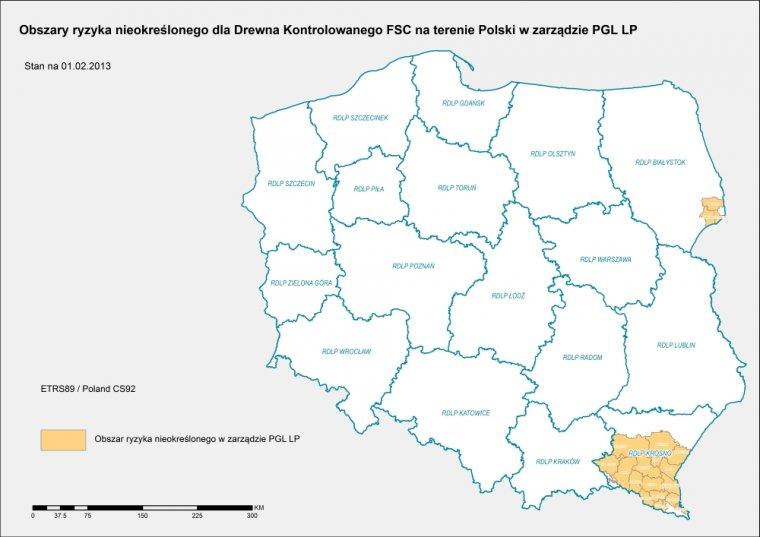 W Krajowej Analizie Ryzyka dla Polski FSC wskazało regiony ryzyka nieokreślonego w ramach kryterium III Drewna Kontrolowanego.