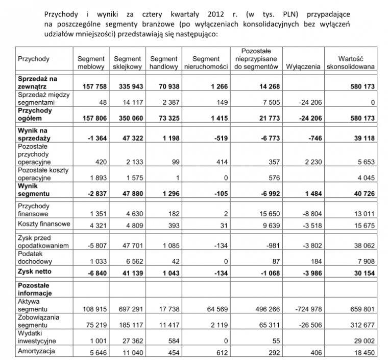 Wyniki poszczególnych segmentów działalności Grupy Paged