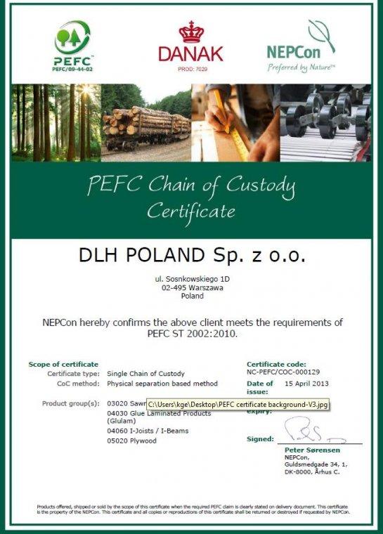 Certyfikat PEFC dla DLH Poland
