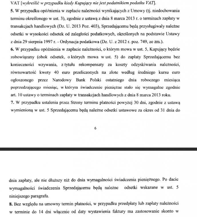 Fragment wzoru umowy opracowanego przez Lasy Państwowe