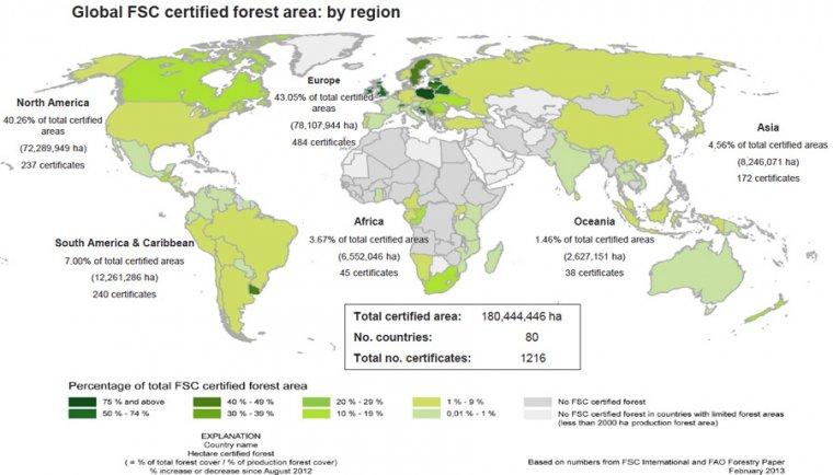 Mapa lasów certyfikowanych w systemie FSC
