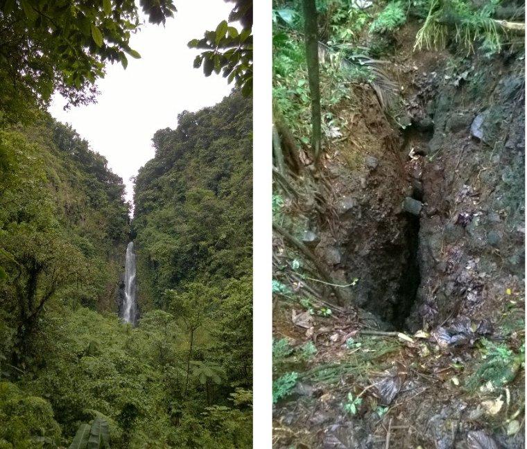 Jeden z wodospadów Trafalgar i jaskinia Stinking Hole