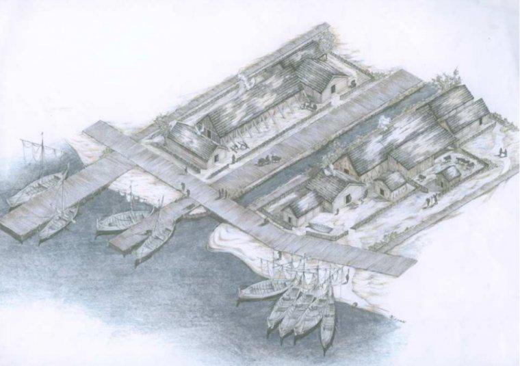 Propozycja rekonstrukcji fragmentu zabudowy w strefie portowej osady Truso wykonana na podstawie badań archeologicznych przez Marka F. Jagodzińskigo