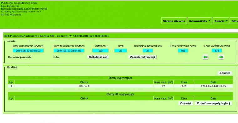 Aktualnie system e-drewno ukrywa dane oferentów