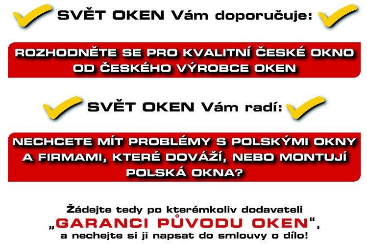 Tekst reklamowy czeskiego producenta okien zniechęcający do kupna okien z Polski
