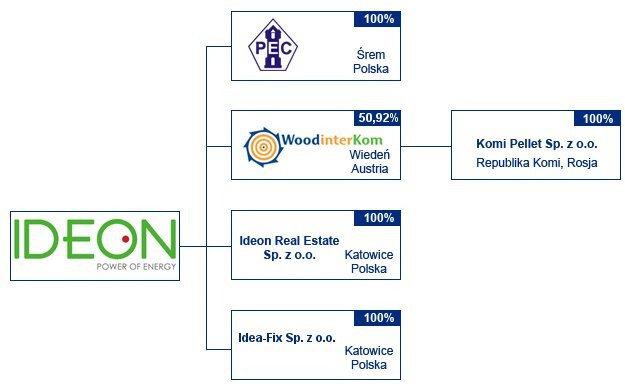 Schemat grupy kapitałowej Ideon