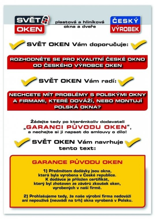 Ulotka czeskiej firmy ostrzega przed zakupem i montażem okien pochodzących z Polski
