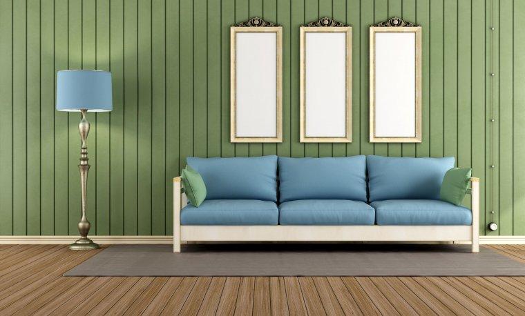 Pomalowanie boazerii wraz ze ścianami kolorem w podobnym odcieniu spraw, że nie zmniejszymy optycznie pomieszczenia