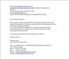 e-mail od FSC w sprawie zawieszenia firmy SGS Qualifor