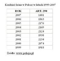 Kradzież leśna w Polsce w latach 1999-2007