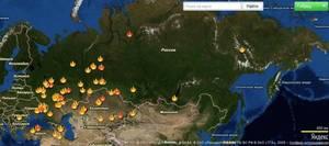 Rozmieszczenie największych pożarów lasów na terenie Rosji